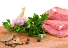 Carne crua e especiaria Imagem de Stock Royalty Free