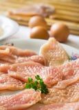 Carne crua e ovos Fotografia de Stock Royalty Free