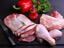 Carne crua, galinha, carne de porco Imagens de Stock Royalty Free