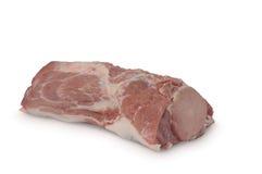 Carne crua & x28; ham& x29 da carne de porco; isolado no fundo branco Fotografia de Stock