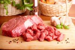 Carne crua na placa de estaca Fotografia de Stock
