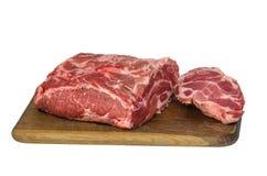 Carne crua na placa de estaca Fotos de Stock
