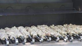 Carne cruda che cucina sulla griglia Pezzi di carne freschi infilati sugli spiedi Kebab cucinato sulla griglia Cucinando lo shash video d archivio