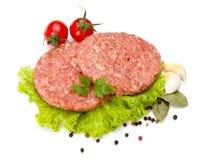 Carne cruda de la hamburguesa de la carne de vaca y del cerdo Foto de archivo libre de regalías
