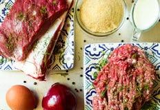 Carne cruda del carne de vaca y picada Fotos de archivo libres de regalías