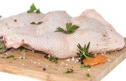 Carne cruda del pollo (en blanco) Fotografía de archivo