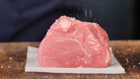 Carne cruda, las manos de la sal almacen de video