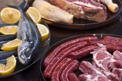 Carne cruda y pescados Imágenes de archivo libres de regalías