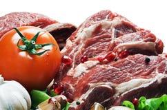 Carne cruda y verduras frescas Imagen de archivo libre de regalías