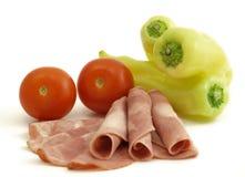 Carne curada com vegetais Fotografia de Stock