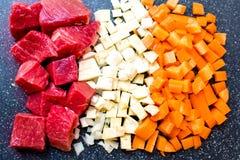 Carne da carne, aipo, cenouras Fotos de Stock Royalty Free