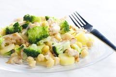 Carne da galinha com bróculos Imagens de Stock Royalty Free