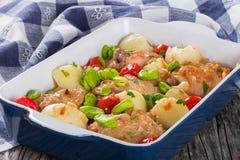 Carne da galinha do guisado, batatas novas, tomates e feijões-de-lima da manteiga fotos de stock royalty free