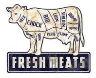 A carne das carnes frescas corta o carniceiro retro Shop do Grunge do vintage do sinal imagem de stock