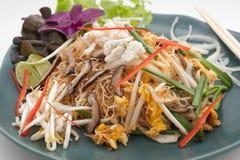Carne de cangrejo con la seta, los tallarines y el huevo Imagen de archivo libre de regalías