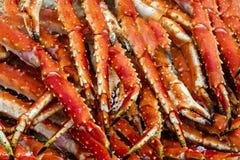 Carne de caranguejos do rei Fundo do alimento de mar, fishmarket de Bergen, Noruega Imagens de Stock Royalty Free
