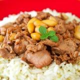 Carne de carne de porco com feijões e arroz Fotografia de Stock