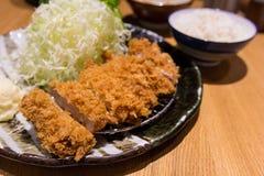 Carne de carne de porco fritada, alimento japonês, estilo de Tonkatsu Imagem de Stock