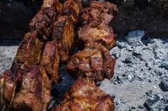 A carne de carne de porco quente em espetos do metal roasted em carvões fora fotos de stock