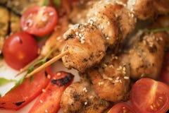 Carne de cerdo asada a la parrilla del kebab imagen de archivo