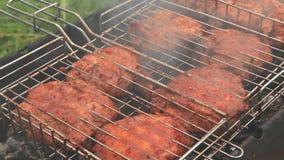 Carne de Chiken no fumo da grade do assado filme