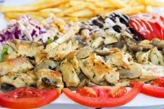 Carne de Grillad com cogumelos Imagens de Stock
