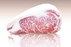 A carne de Kamui Wagyu gorda, a tira de mármore de alta qualidade Lloyd refletiu na terra imagem de stock