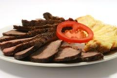 Carne de la carne asada con la patata Imagenes de archivo