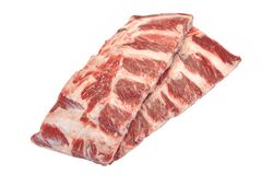 Carne de la carne de vaca Angus Marbled Beef Ribs Isolated negro crudo foto de archivo libre de regalías
