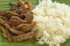 Carne de la haba de la soja con arroz pegajoso Foto de archivo libre de regalías