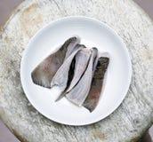 Carne de pescados en la placa foto de archivo libre de regalías