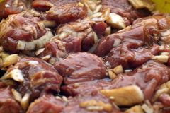 Carne de carne de porco com as cebolas prontas para o BBQ fotos de stock royalty free