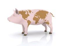 Carne de porco com mapa de mundo Fotografia de Stock Royalty Free