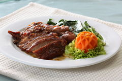 Carne de porco cozida, cortada Fotos de Stock