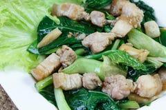 A carne de porco da couve e do lado fritou no molho da ostra na placa branca Foto de Stock Royalty Free