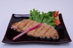 Carne de porco de Teriyaki isolada no fundo branco Fotos de Stock