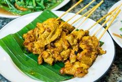 Carne de porco deliciosa Satay do caril do brinde do alimento da culinária Fotografia de Stock