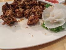 Carne de porco do alho fritada Fotografia de Stock