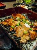 Carne de porco do preto de KUROBUTA com molho sobre o arroz Fotografia de Stock Royalty Free