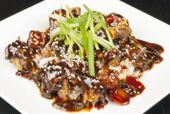 Carne de porco doce e ácida no arroz Imagem de Stock
