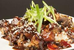 Carne de porco doce e ácida no arroz, fim Imagem de Stock Royalty Free