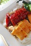 Carne de porco e galinha do BBQ Fotos de Stock Royalty Free