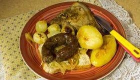 Carne de porco e refeição dos boerewors Fotografia de Stock Royalty Free