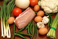 Carne de porco e vegetal fotografia de stock royalty free