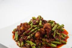 Carne de porco friável com pasta do caril Imagem de Stock