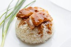 Carne de porco friável com arroz no fundo branco Fotos de Stock Royalty Free