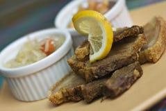 Carne de porco friável fritada Bagnet foto de stock