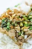 Carne de porco fritada com alho e pimenta Fotos de Stock