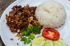 Carne de porco fritada com alho, tomate, pepino pronto para comer na placa branca Fried Pork com pimenta do alho no arroz imagem de stock royalty free