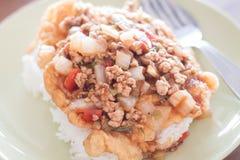 Carne de porco fritada com cobertura do molho de tomate no ovo frito Imagem de Stock